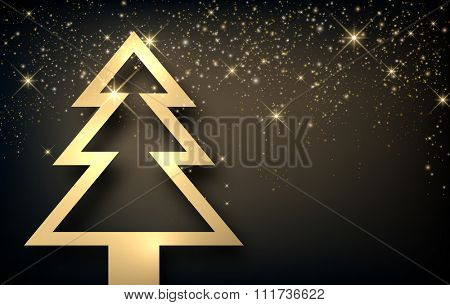 Background with Christmas tree. Vector paper illustration.