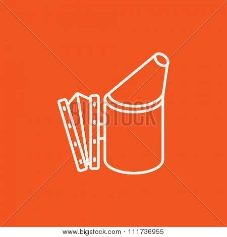 Bee hive smoker line icon for web, mobile and infographics. Vector white icon isolated on red background.