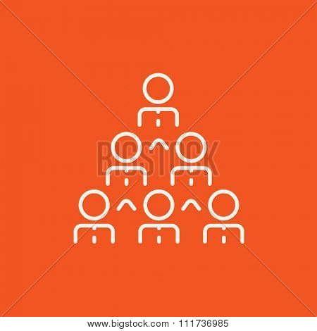 Business pyramid  line icon for web, mobile and infographics. Vector white icon isolated on red background.