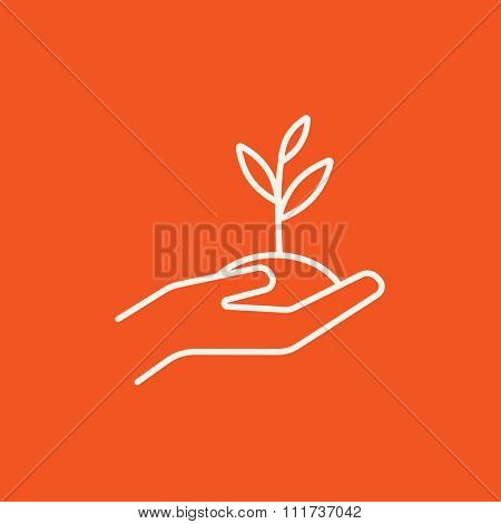 Hands holding seedling in soil line icon for web, mobile and infographics. Vector white icon isolated on red background.