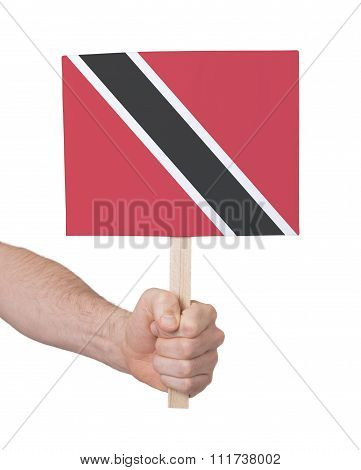 Hand Holding Small Card - Flag Of Trinidad And Tobago