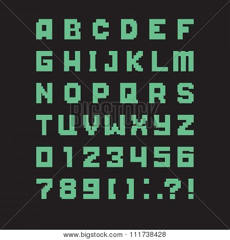 pixel green letters of latin alphabet. vector