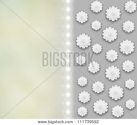 Beautiful Lace Snowflakes with Shadow and Paper-Cut effect on Gray Grey Yellow Background.