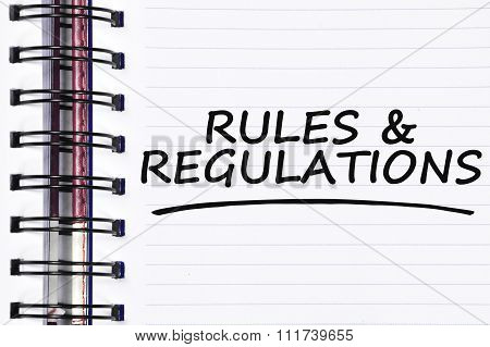 Rules & Regulations Words On Spring White Note Book
