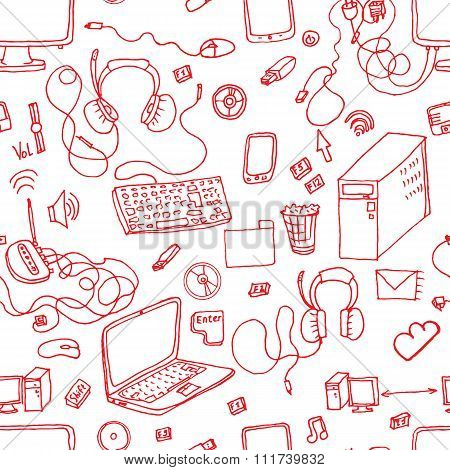 vector seamless pattern of hand drawn doodles of electronic gadgets