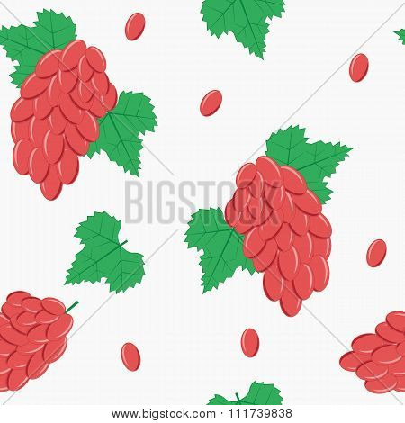 Seamless Pattern with Red Grapes on White Background