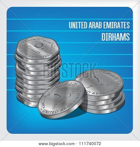 Uae Dirham Coins Stacks