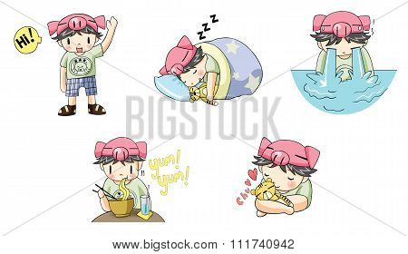 Piggy pig boy with tiger pet cartoon character icon in various action and expression such as sleepin