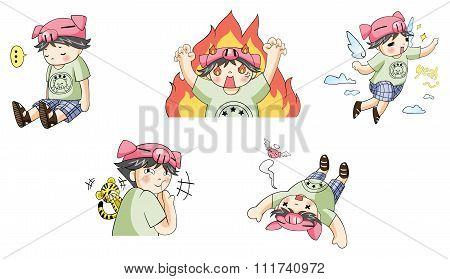 Piggy pig boy with tiger pet cartoon character icon in various action and expression such as angry s
