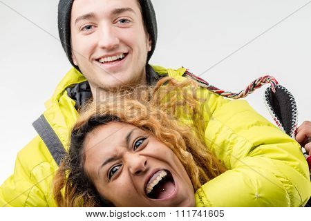 White Boy And Black Girl Joking At A Party