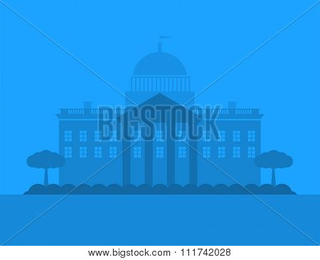 Vector city house silhouette. Dark night city silhouette. House silhouette small town, vector building. Night house silhouette vector illustration. Museum silhouette. Business center city