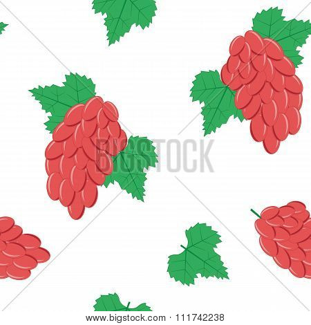 Seamless Pattern with Bunches of Red Grapes on White Background