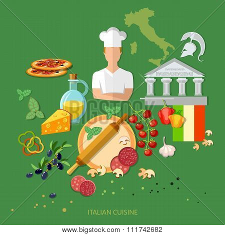 Pizzeria Italian Pizza Ingredients Cook Tomatoes Cheese Dough Rolling Pin Vector Illustration