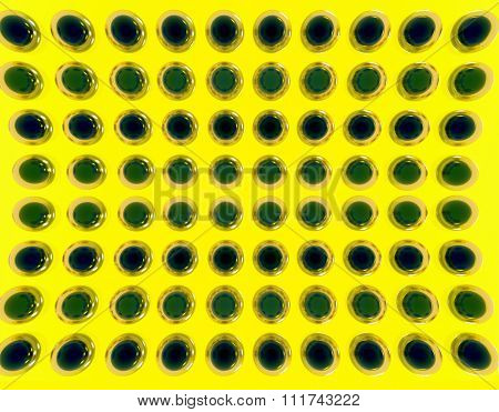 many sphere, on a yellow background