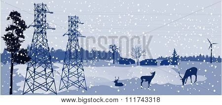 illustration with deers under electrical pylons