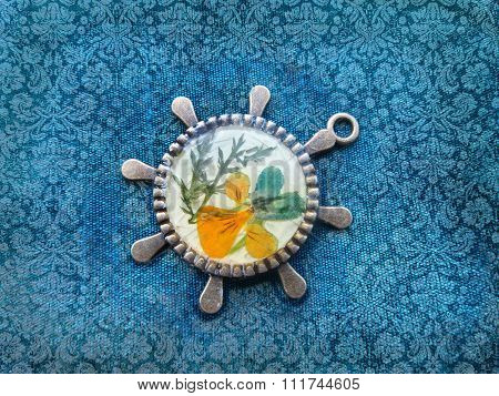 Beautiful Pendant With Flowers In Resin. Womens Jewelry.