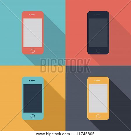 Smartphone Icons Set In The Style Flat Design On The Background Different Colors. Stock Vector Illus