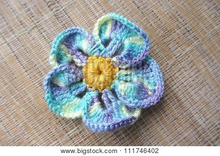 Knitted Crochet Flower Forget-me With Cotton Melange Yarn