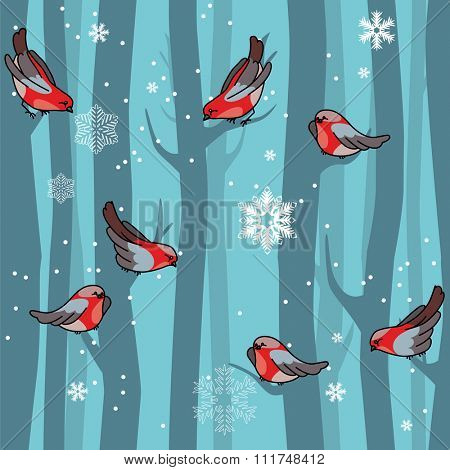 Seamless winter blue pattern with red bullfinches and trees. For festive design, announcements, greeting cards, postcards, posters.