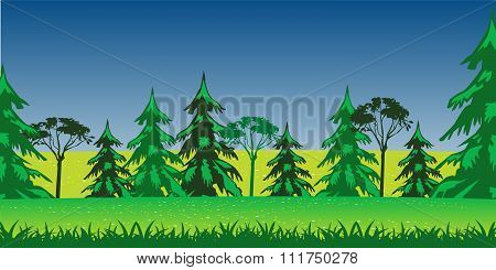 Beautiful year landscape glade with flower and tree