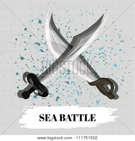 Poster Sea Battle Desktop Or Mobile Educational Game. Vector