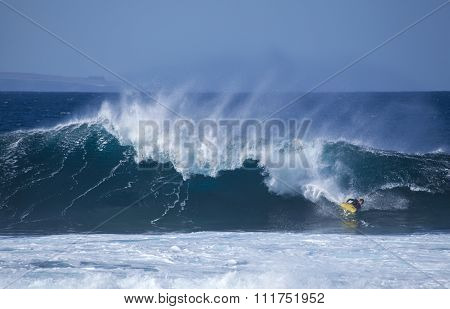 Bodyboarding At El Confital Beach, Gran Canaria