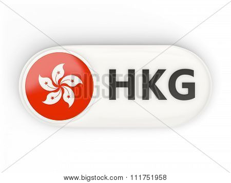 Round Icon With Flag Of Hong Kong
