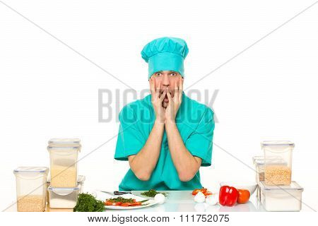 scared cook man worried pose. isolated white background
