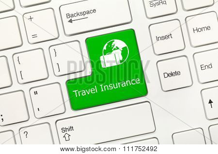 White Conceptual Keyboard - Travel Insurance (green Key)