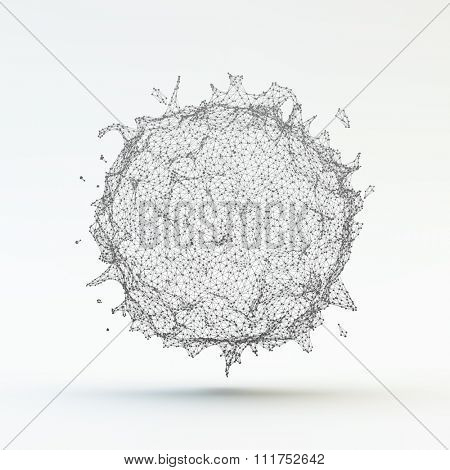 Virus Particle. Medical Illustration. Abstract Vector Sphere. Connection Structure.