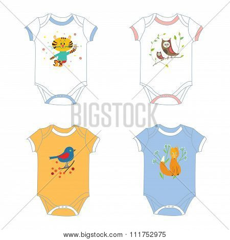 Baby Garments T-shirts With Animals Print