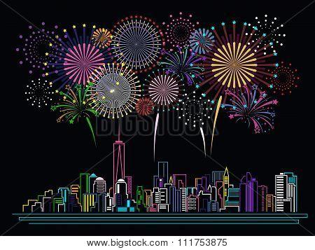 Cityscape Building Line art and Firework vector design