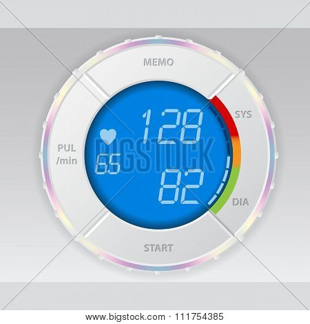 Blood Pressure Monitor With Blue Lcd