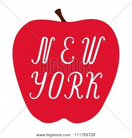 New York lettering on a big red apple.