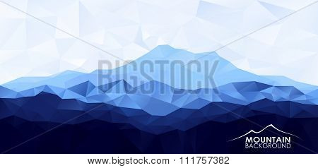 Triangle low poly polygonal background with blue mountain