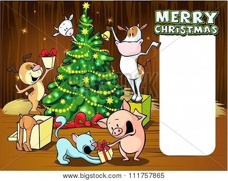Animals Celebrate Christmas - Vector Illustration Xmas Card