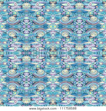 Seamless Pattern. Abstract Acrylic Painting. Colorfull Kaleidoscopic Composition. Aztec, Maya, Incas