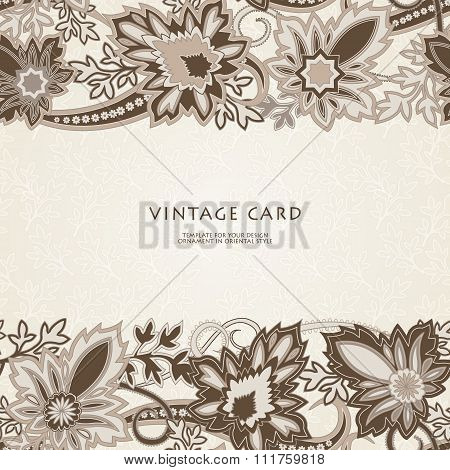 Wedding invitation card with  ethnic flower paisley ornament.