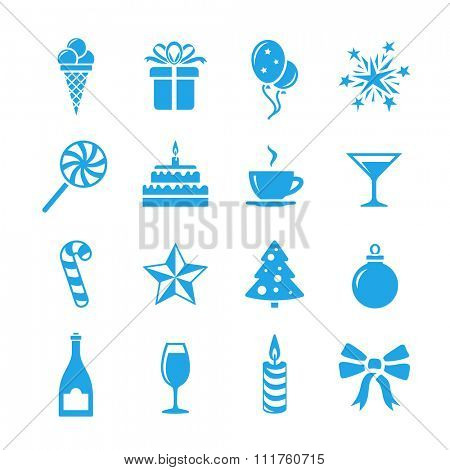 Birthday celebration icons. Holidays and event icon set. Vector icons