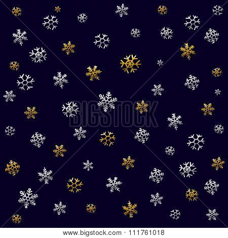 Christmas Pattern For Wrapping Paper With Christmas Icons. The Thin Line In Gold And Silver Color. U