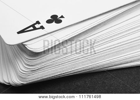 Card Game With Ace Of Clubs Detail. Black And White