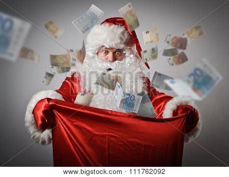 Santa Claus And Sack With Euro.