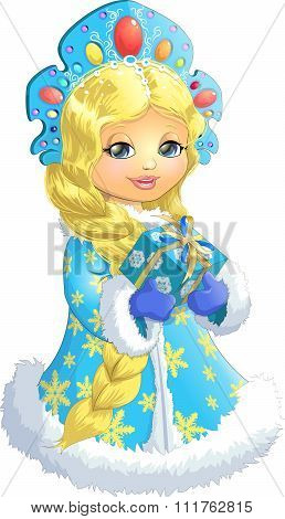 Beautiful Snow Maiden on a white background