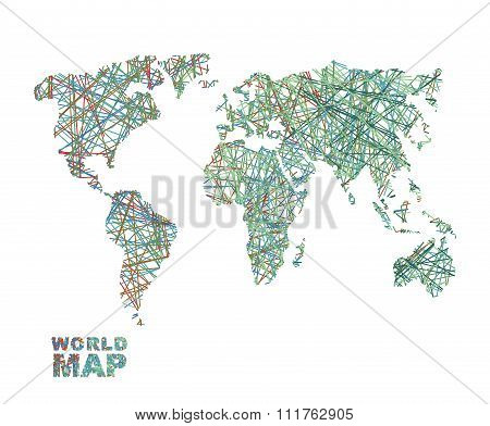 World Map Colored Lines. Global Internet Networkconnects  Matter Of Planet Earth. Business Concept G