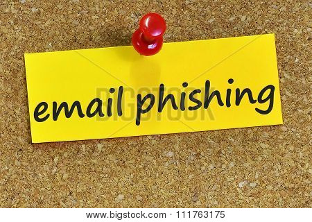 Email Phishing Word On Yellow Notepaper With Cork Background