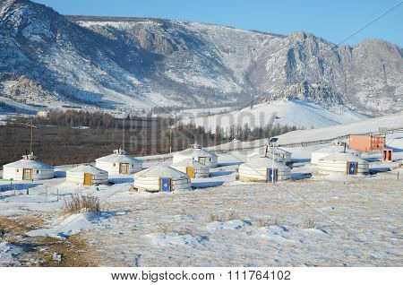 Terelj, Mongolia - Dec,03 2015:Yourt Camp In The Nature Reserve Terelj, Mongolia