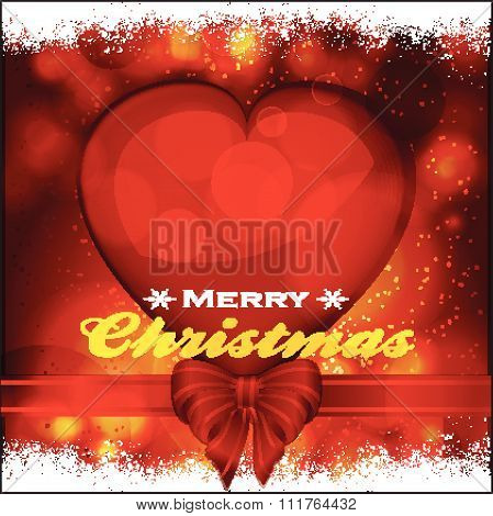 Christmas Background With Heart Ribbon And Bow