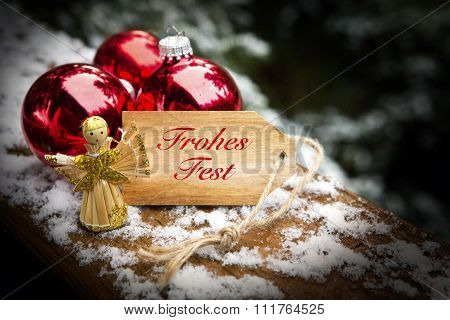 German 'frohes Fest' (merry Christmas) On Tag With Angel