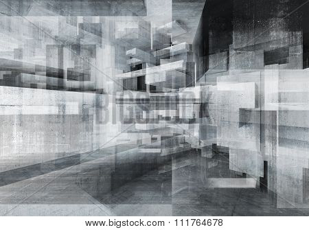 Abstract Concrete Background With Chaotic Cubes