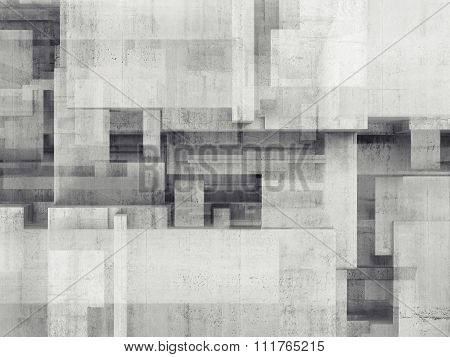 Abstract Concrete Wall With Chaotic Cubic Pattern